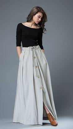 409e8caa3f Maxi Skirt Light Gray Linen Buttoned Long Pleated Casual Mariana, Girls  Wear, Women's,