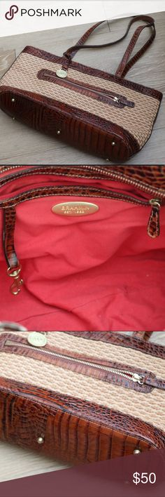 Brahmin Wicker Bag Lovely Brahmin Bag great for all four season. Very stylish and classic. Gold colored hardware and feet so the leather doesn't touch the ground. Like new Brahmin Bags Totes