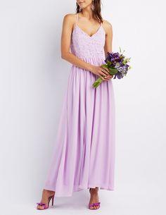 Crochet & Chiffon Maxi Dress   Charlotte Russe