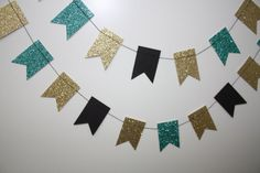 Turquoise/Teal Glitter, Gold Glitter and Black Paper Garland teal gold black wedding