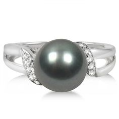 Cultured Tahitian Pearl Ring with Diamonds 14K White Gold 9-10mm -Allurez.com