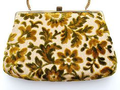Vendi Brocade Tapestry Purse Green Floral Vintage Handbag