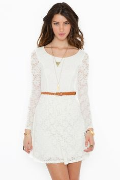 Vintage-inspired ivory lace dress with a brown braided belt. (Brand: Nasty Gal)