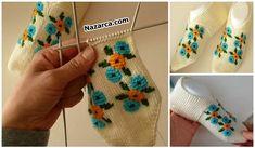 2 ŞİŞ İLE DİKİŞSİZ PATİK NASIL YAPILIR? DETAYLARI | Nazarca.com Weaving Patterns, Baby Knitting Patterns, Stitch Patterns, Crochet Crocodile Stitch, Fingerless Gloves, Arm Warmers, Slipper, Amigurumi, Tricot