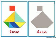 Resultado de imagem para atividades com tangram pre escolar Elderly Activities, Activities For Kids, Preschool Spanish, Toddler Busy Bags, Folder Games, School Posters, Busy Book, Pattern Blocks, Montessori
