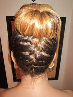 Sock bun with a french braid up the back fro the wedding I went to last night!
