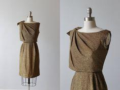 Gold Lame Dress / 1960s Dress / Wiggle Dress / Shoulder Bow / Shimmer Wash