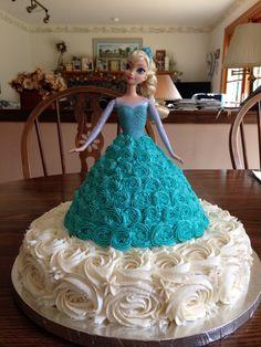 Frozen Elsa cake using Wilton Wonder Mold Set.