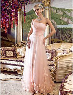ts couture® formal del vestido de la tarde - de inspiración vintage, más tamaño / vaina petite / columna Strapless palabra de longitud tul