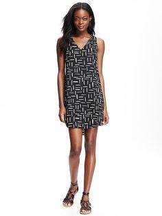 Patterned V-Neck Shift Dress for Women Product Image