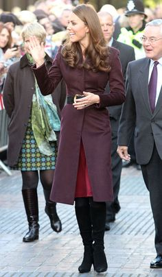 Kate Middleton Visits Newcastle Weaing The Same Aubergine Coat By An Independent Dressmaker That She Wore On Christmas Day