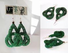 beaded crochet knot earrings by Varga Reka