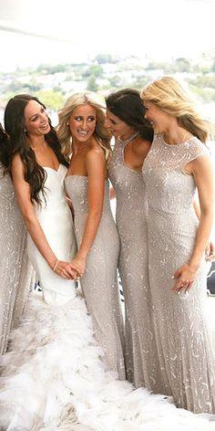 18 Full On Glitz Sequined & Metallic Bridesmaid Dresses ❤ See more: http://www.weddingforward.com/sequined-metallic-bridesmaid-dresses/ #weddings #dresses