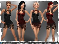 Sims 4 CC's - The Best: Sparkling Sexy Lace Leather Corset by Devilicious