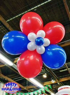 Red, white, and blue jumbo Patriotic balloon flower sculpture