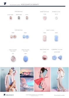 Beads and stones shapes selection with trendy rose quartz and fine blue colours and finishes