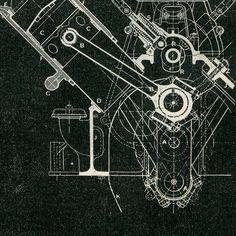 Mechanical Engineering Drawing Wolseley Engine by CarambasVintage