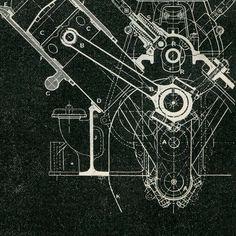 Mechanical Engineering Drawing Wolseley Engine 120 HP 8 cylinders, Vintage Print