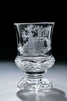 Bid Live on Lot 279 in the Private Collection Auction from Dr. Crystal Stemware, Glass Crystal, Glass Engraving, Antique Glassware, Glass Etching, Etched Glass, Chef D Oeuvre, Vintage Keys, Drinking Glass