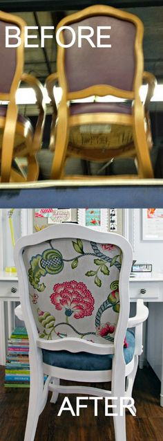 Before and After - chair reupholstered and painted