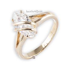 Bague plaqué or solitaire Tsaammétiqiw diamant Cz - Bagues argent/Plaquée Or - laoula-bijoux