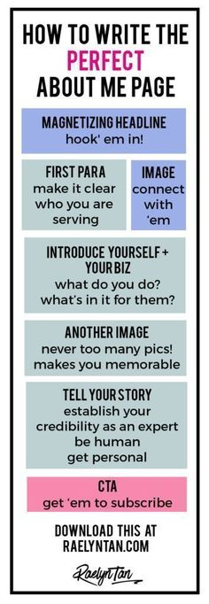 How to Write the Perfect About Me Page (With Examples + Printable Graphic!) How to Write the Perfect About Me Page (With Examples + Printable Graphic!) What Your About Page Must Do. The Anatomy of a Perfect About Page. Marketing Online, Marketing Digital, Content Marketing, Affiliate Marketing, Media Marketing, Marketing Strategies, Blogger Tips, Seo Blog, Web Design