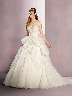 Alfred Angelo Sleeping Beauty Style 260: ball gown wedding dress with tulle yoke and adorned with pearls, rhinestones and hand-made flowers
