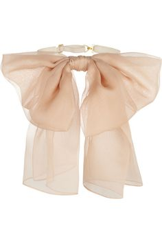 [Saint Laurent - Silk-Chiffon and Leather Neck Bow]