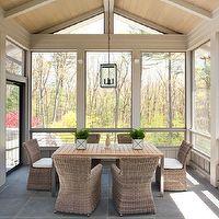 Liz Caan Interiors - decks/patios - enclosed patio, sunroom, modern sunroom, modern enclosed patio, vaulted ceiling, wood plank ceiling, pla...
