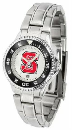 NC State Wolfpack NCSU NCAA Womens Competitor Steel Band Watch by SunTime. $79.95. Showcase the hottest design in watches today! The functional rotating bezel is color-coordinated to compliment your favorite team logo. The Competitor Steel utilizes an attractive and secure stainless steel band.