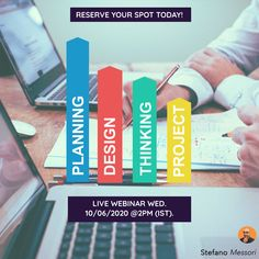 Live training session - Planning your design thinking project. Reserve your spot for the 10th of June 2020 @2pm (IST) - stefano.tips/PlanningDTP 🚀  #DesignThinking #StrategicDesign #Webinar #Live #Creativity #Innovation #Business #Disrupt #Entrepreneur #Startup #DesignStrategy