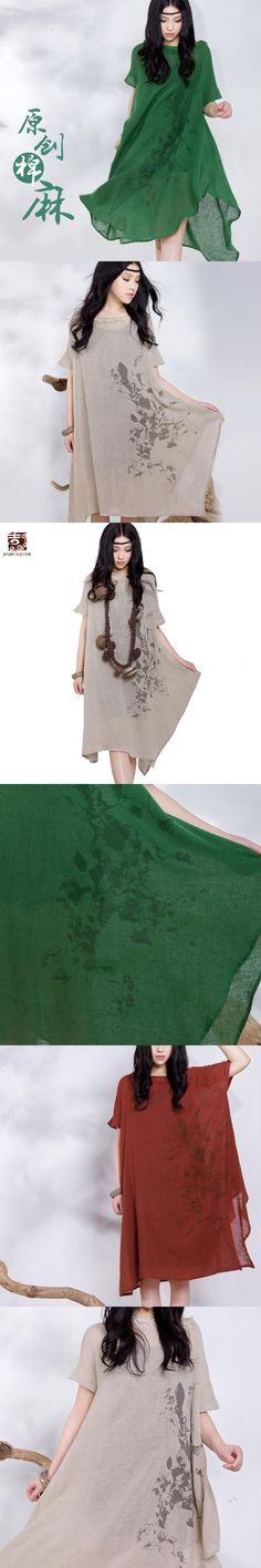 Jiqiuguer Women Print Linen cotton Dress Vintage Plus Size O-Neck Short Sleeve Loose Long Casual Summer Lady Vestidos G132Y057