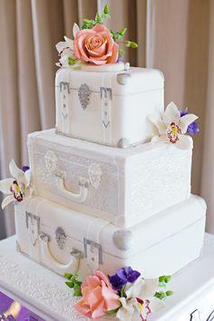 Travel theme suitcase wedding cake #ThemedWeddings