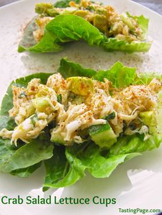 Crab salad lettuce cups make a great and easy lunch or festive app and there's no mayo used - dairy free