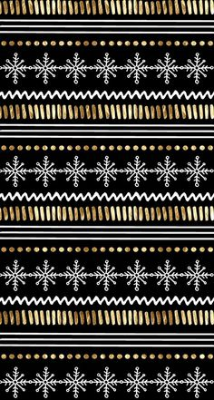 Black & gold snowflake pattern wallpaper