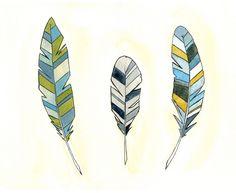 Feather Art Print Illustration