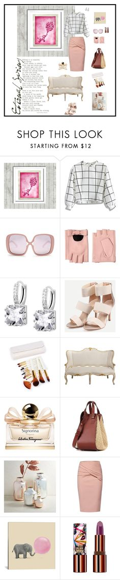 """Untitled #751"" by xocolate ❤ liked on Polyvore featuring Burke Decor, Chicwish, Karen Walker, Karl Lagerfeld, Salvatore Ferragamo, Loewe, West Elm, WtR, iCanvas and Teeez"
