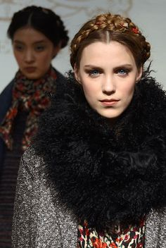 The Best Beauty Looks From New York Fashion Week - Fabric-woven Heidi braids at Rachel Roy.