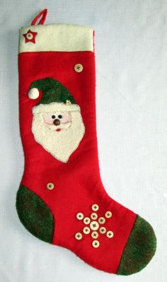 Vintage Santa Claus Christmas Stocking Red Ivory Green with Buttons 17 inches