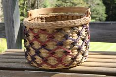 Hand Woven Rolled Border ZigZag Basket by BlueFrogBasketry on Etsy, $90.00