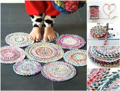 How to DIY Fabric Twine Spiral Mat | www.FabArtDIY.com