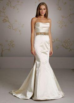 3054, Lazaro, mermaid, fit and flare, trumpet, ruching, strapless, natural waist, silk, satin, Madeleine's Daughter Bridal Inventory