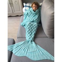 f73b9e3b4b7 Knitted Fish Scales Design Wrap Mermaid Blanket For Kids