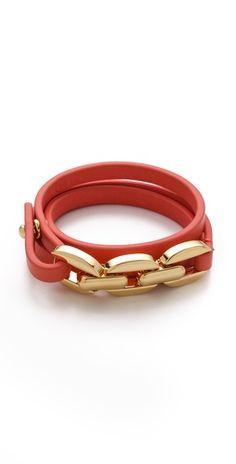 Tory Burch Chain & Leather Triple Wrap Bracelet | SHOPBOP