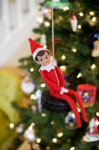Elf on a tire swing!