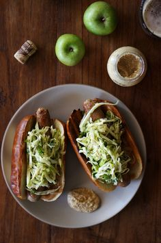 Braised beer bratwursts with apple slaw