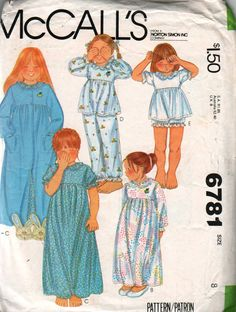 1970s McCalls 6781 Girls Nightgown Baby Dolls Pajamas by mbchills, $5.00