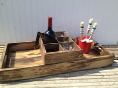 Handmade Rustic Wooden Wine Serving Tray