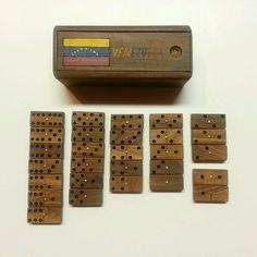HANDMADE WOOD DOMINOES in WOODEN BOX ~ DOUBLE SIX / 28 Tile ~ Vintage Venezuelan #Handmade