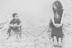 Mother, Son | Beach Photography  | Heart  | Black and White